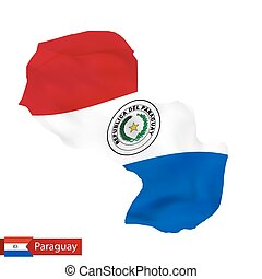 Paraguay map with waving flag of country.