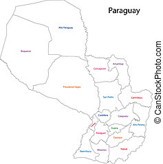 paraguay, mappa, contorno