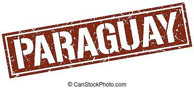 paraguay, marrone, quadrato, francobollo