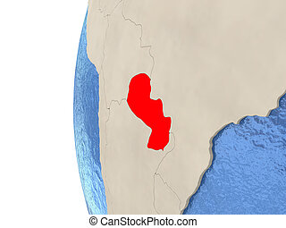 Paraguay on 3D globe