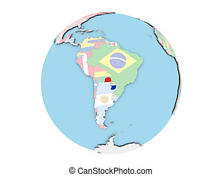 Paraguay on globe isolated