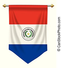 Paraguay Pennant - Paraguay flag or pennant isolated on...