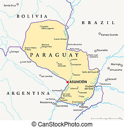Paraguay Political Map - Political map of Paraguay with...