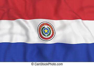 Paraguay Republic flag waving - 3d rendering of Republic of ...