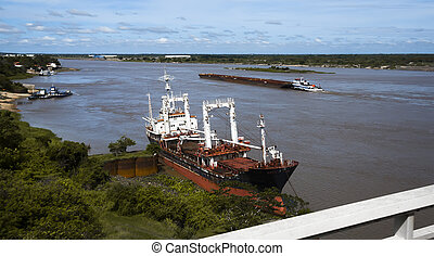 Paraguay River in Asuncion - General view on wide surface of...