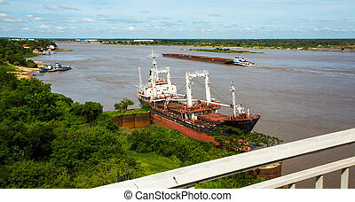 Paraguay River in Asuncion - View on brown water of the ...