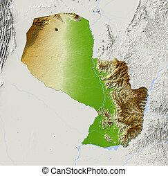 Paraguay, shaded relief map - Paraguay. Shaded relief map ...