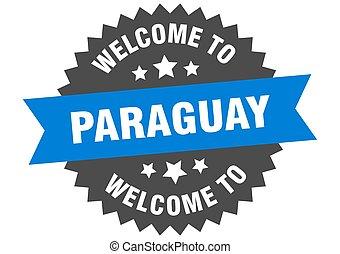 paraguay, signe., accueil, bleu, autocollant
