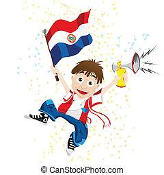 paraguay, sportende, ventilator, met, vlag, en, hoorn