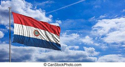 Paraguay waving flag on blue sky. 3d illustration
