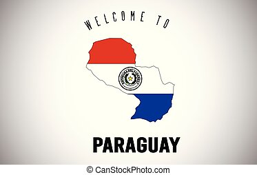 Paraguay Welcome to Text and Country flag inside Country border Map Vector Design.