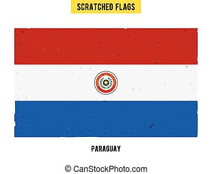 Paraguayan grunge flag with little scratches on surface. A hand drawn scratched flag of Paraguay with a easy grunge texture. Vector modern flat design