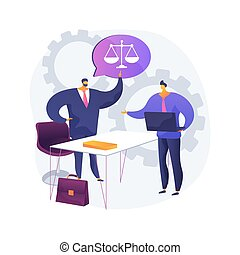 Paralegal services abstract concept vector illustration. Delegated legal work, organizing files, drafting documents, legal research, law firm, write report, litigation abstract metaphor.