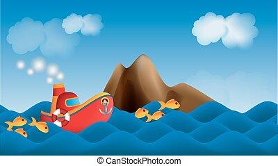 parallax, caricatura, navio, em, a, mar, fundo