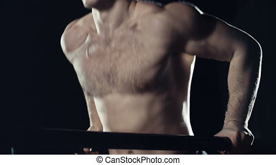 Parallel Bar Dips - Side view of workouter doing parallel...