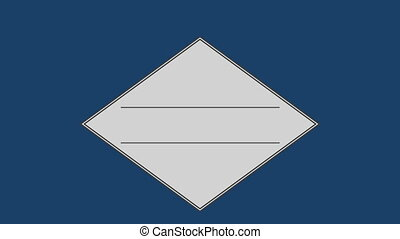 Parallel line in square against blue background