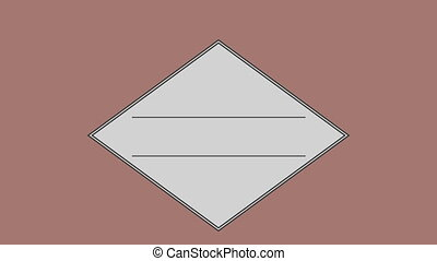 Parallel line in square against brown background