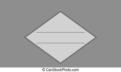Parallel line in square against gray background
