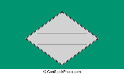 Parallel line in square against green background