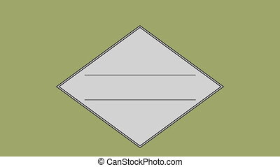 Parallel line in square against olive green background