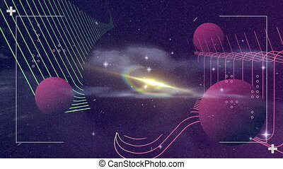 Animation of green and red parallel lines with three spheres against a night sky with clouds, stars, lens flare and a halo. Colour, space and movement concept digitally generated image.