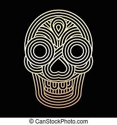 Parallel lines skull symbol on black background