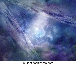 Parallel Universe - Blue background deep space showing two...