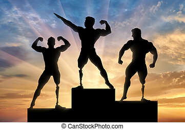 Paralympic bodybuilders be awarded sunset background -...