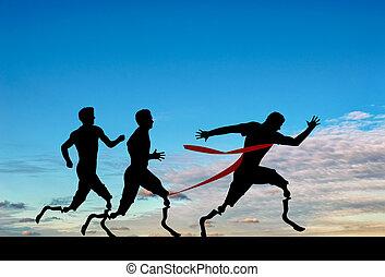 paralympics, konkurrieren, prothetisch, läufer, tag