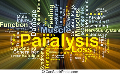 Background concept wordcloud illustration of paralysis glowing light