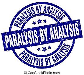 paralysis by analysis blue round grunge stamp