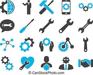 paramètres, et, outils, icônes