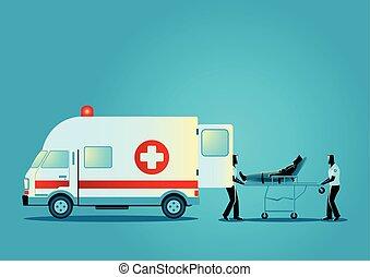 paramédico, equipo, mudanza, herido, hombre