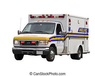 paramédico, furgoneta, aislado