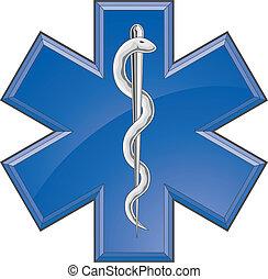 paramédico, médico, rescate, logotipo
