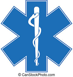 Blue paramedic symbol with a snake, staff, and cross shape icon.
