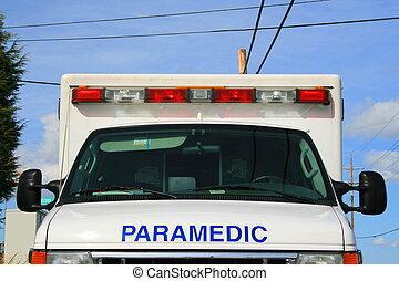 Paramedic Car - Pramedic car parked outisde of a building.