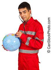 Paramedic examine world globe