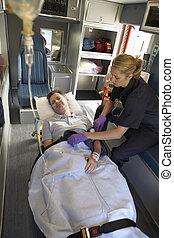 paramedic, hos, tålmodige ambulance