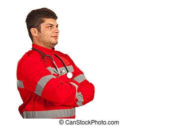 Paramedic man looking away
