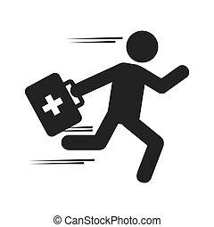 paramedic man running medical kit