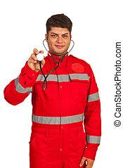 Paramedic man showing stethoscope