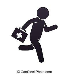 paramedic running with medical kit