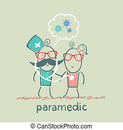 paramedic stethoscope listens to the patient says about bacteri