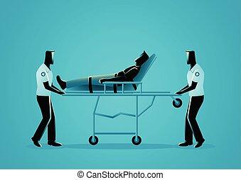 Paramedic team moving injured man on a stretcher