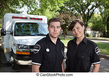 Paramedic Team Portrait - Paramedic team portrait with...