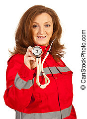 Paramedic woman showing stethoscope