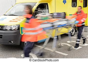 paramedics, correndo, barella, blurry, squadra