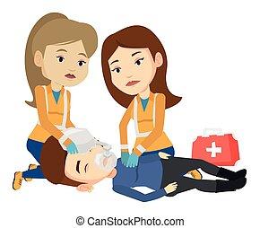 Paramedics doing cardiopulmonary resuscitation. - Paramedics...