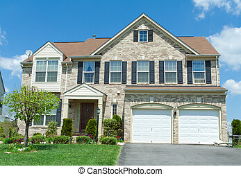 paramontato, casa, suburbano, fronte, famiglia sola, md, mattone